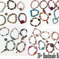 30+ handmade beaded bracelets, party favors, gift ideas, dress up jewelry, bulk bracelets, summer fashion, bracelet assortment, beaded,