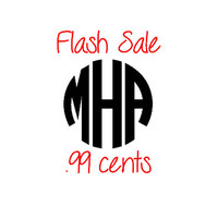 FLASH SALE  2 Inch Circle Font Monogram - Outdoor Vinyl - Decal - Sticker - Car - Phone - Laptop - Tumbler - DIY
