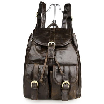 Vintage Oiled Leather Shoulder Backpack Bag for Hiking and Cycling_Backpacks_Women's Leather Bags