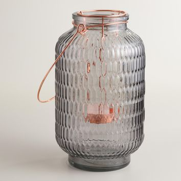 Small Gray Textured Glass Aria Lantern