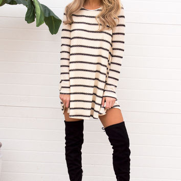 Stripe Long Sleeve Dress - Cream