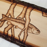Rustic Trout Decor Wood Burning Fishing Wall Art - Bark