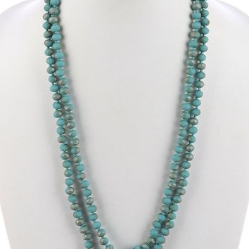 Opal Natural Stone Finish Extra Long Bead Necklace