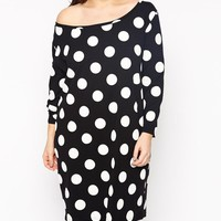 ASOS Curve | ASOS CURVE Off Shoulder T-Shirt Dress In Large Polka Dot In Longer Length at ASOS