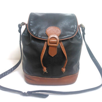 Vintage Two Tone Faux and Real Leather Drawstring Bucket Bag