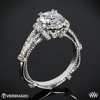 14k White Gold Verragio Dual Claw Split Shank Halo Diamond Engagement Ring