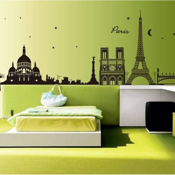 [saturday Monopoly] Paris Night Fashion Removable Home Decor Wall Stickers For Living Room Decoracion Pared Pegatinas 9059
