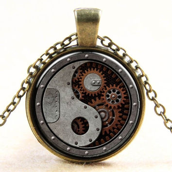 Vintage Steampunk Unisex 3D Gear Pendant Sweater Chain Necklace Jewelry Gift for Women & Men = 1931805444