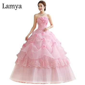 Royal Pink Princess Wedding Dress Lamya Princess Elegant Pearl Beads Sexy Strapless Bridal Ball Gown For Women