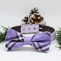 Lavender Dog Bow Tie, Pet wedding accessory, Christmas Gifts, Puppy Lovers, Plaid Collar