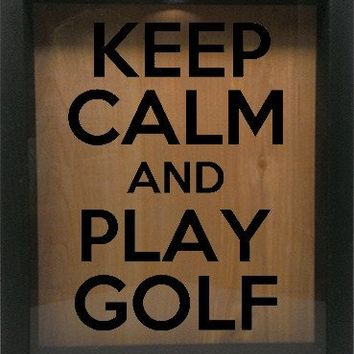 "Wooden Shadow Box Wine Cork/Bottle Cap Holder 9""x11"" - Keep Calm And Play Golf"