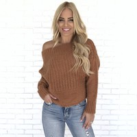 Fall Into You Knit Sweater In Rust