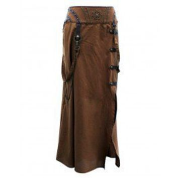 EW-106 - Brown Steampunk Style Skirt with Intricate Detailing - MADE TO ORDER