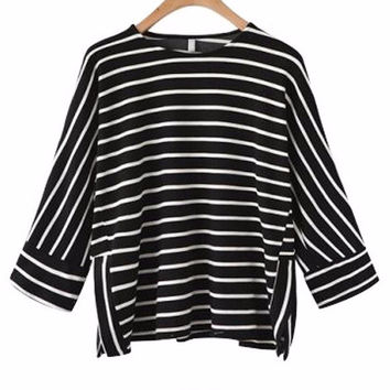 Women's Black with White Stripes Casual 3/4 Sleeve T-Shirt Blouse