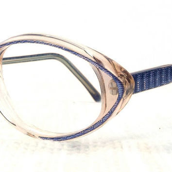 vintage deadstock 70s lunettes eyeglasses acetate frames cat eye glasses eyewear french designer france small purple blue blush stripe 209