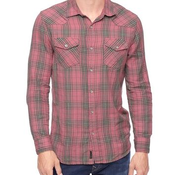 True Religion Double Pocket Plaid Western Mens Shirt - Dsty Rose Multi