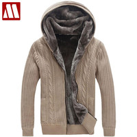 Winter Warm Thick Mens Sweaters / Casual Faux Fur Lining Knitted Sweater coat Men Designer Hooded Cardigans