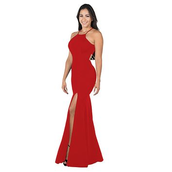 Red Halter Long Formal Dress Cut-Out Back with Slit