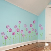 Wall Decals Doodle Flower Garden set of 20 by singlestonestudios
