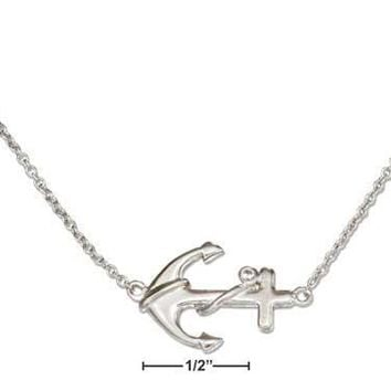 "Sterling Silver 16""-18"" Adjustable Sideways Anchor Necklace With Cubic Zirconia Accent"