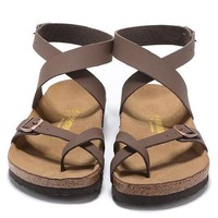 Birkenstock Leather Cork Flats Shoes Women Men Lover Casual Sandals Shoes Soft Footbed