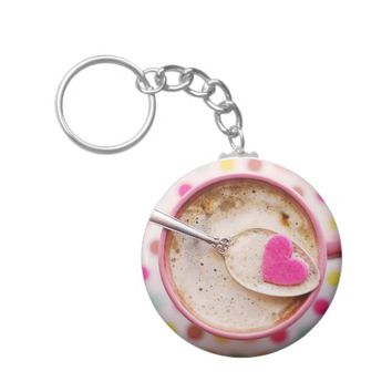 Candy heart coffee keychain