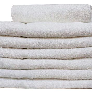 60 Pcs (5 DOZEN ) WHITE ECONOMY 15X25 HAND TOWEL 100% COTTON - 2.5 LB/DOZEN (60)