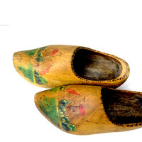 Dutch Wooden Shoes, Vintage Wood Shoes, Easter Decoration, Holland Shoes, Handmade Wooden Shoes, Wooden Clogs, Dutch Shoes