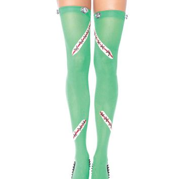 Leg Avenue Female Frankie Opaque Thigh Highs With Latex Stitch And Bolt Detail 6331