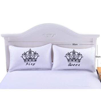 Cool 2 Pcs/Lot Crown Pattern Pillow Cases Queen and King Letter Design Pillow Covers Decorative Couple Pillow Wedding Gift P20AT_93_12