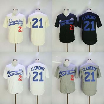 Roberto Clemente Jersey #21 Santurce Crabbers Puerto Rico In Baseball Jersey Baseballs Stitched Button Down Shirt Free Shipping