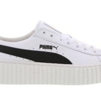 PEAPON PUMA RIHANNA FENTY CREEPERS WHITE BLACK LEATHER (364462 01) WOMEN TRAINERS
