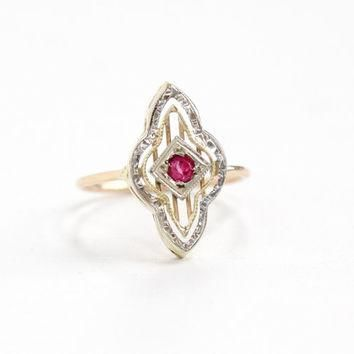 Antique Art Deco 10k Rose, Yellow, & White Gold Ruby Ring - Vintage Filigree Size 5 1/