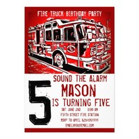 Fire Truck Engine Firefighter Birthday Invitations from Zazzle.com