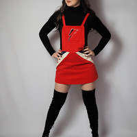Bowie inspired 70's cord pinafore dress