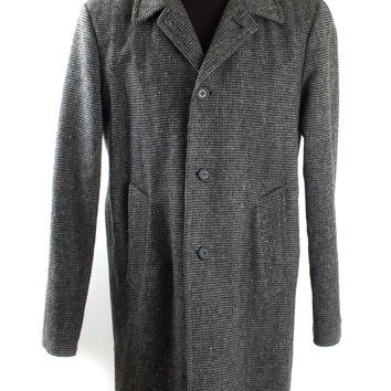 Black and Gray Wool Tweed Checkered Coat