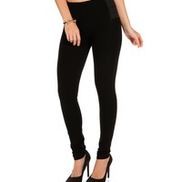 Black Elastic Sides Knit Leggings