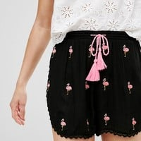 Glamorous Shorts With Pom Pom Trim And Tassle Ties With Flamingo Embroidery at asos.com