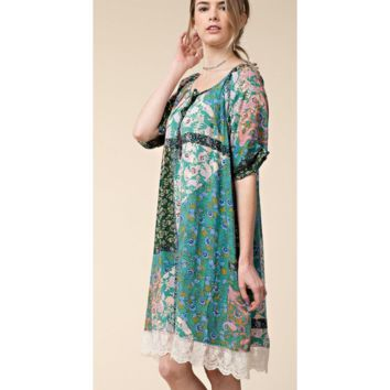 Cute Green Boho Lace Trim Tunic Dress w/ Unique Sleeves