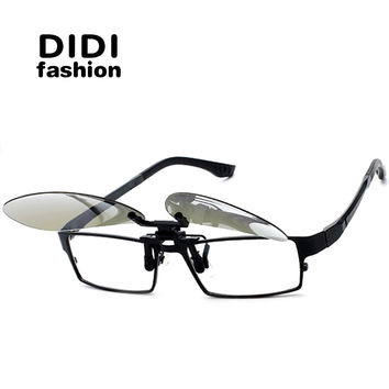 DIDI Aviator Polarized Clip On Sunglasses Women Men Rimless Frame For Prescription Glasses Double Fit Over Flip Pink Oculos H596