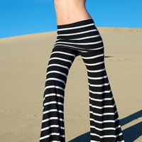 STRIPE  palazzo (wide leg, goucho) yoga lounge beach resort casual pants with fold over skirt waist