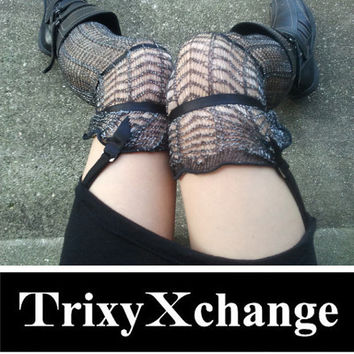 TRIXY XCHANGE - Black Sock Garters Knee Sock Garters Black Garter Belt Over the Knee Socks Leggings Leg Warmers Steampunk Rockabilly Vintage