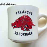 Vintage Arkansas Razorbacks Coffee Mug 1980s