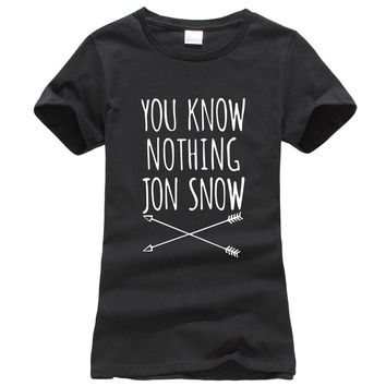 You Know Nothing Jon Snow women funny hip-hop T shirt 2017 Summer Games Of Thrones harajuku tee shirt femme punk brand tops tees