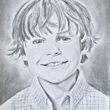 Pencil Portrait Drawing from Photo - Commissioned Drawing - Pencil Sketch from photograph - Child Drawing - Little Boy Drawing