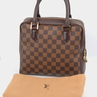 Mint Louis Vuitton LV N51155 Damier Ebene Triana Brown Canvas Tote Handbag