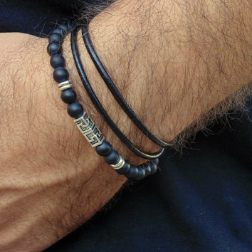 Men's bracelet set, men's wrap leather bracelet ,men's  black bracelet, greek key, black onyx, men's jewelry ,black beads,stretch ,gift
