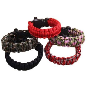 FishSunDay New Outdoor Self-rescue Parachute Cord Bracelets Whistle Buckle Survival Camping Travel Kit Drop shipping Aug10
