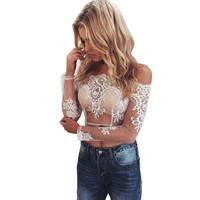 Elegant Sexy Off Shoulder Top Women Blouse Shirt Summer 2017Blusas Female Lace Blouses Beach Casual Tops Girl