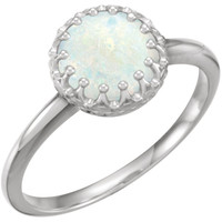 Sterling Silver and 8mm Opal Crown Set Ring